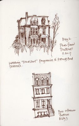 Old Buildings Sketches by Marlene Lee. Photo references from Pinterest.