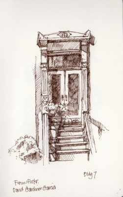 Front Door with Potted Plants by Marlene Lee. Photo references from David Gardiner Garcia, Flickr.