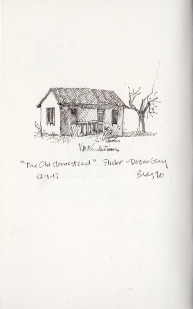 """The Old Homestead"" sketch by Marlene Lee. Photo reference from Dozer Guy, Flickr"