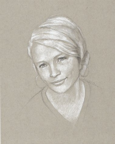 Commissioned drawing of a teenager, graphite and white charcoal, 10 x 8 inches by Marlene Lee