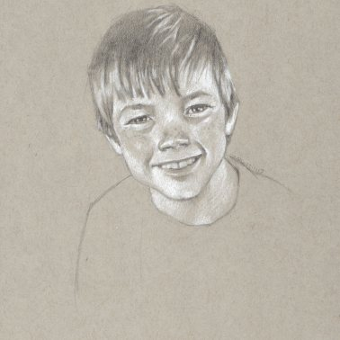 Commissioned drawing of a young boy, graphite and white charcoal, 10 x 8 inches by Marlene Lee