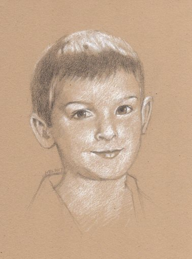 Commissioned portrait of a young boy in graphite and white charcoal on toned paper by Marlene Lee