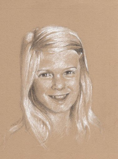 Commissioned portrait of a young girl, graphite and white charcoal on toned paper by Marlene Lee