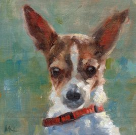 On the Alert, 6 x 6 oil on canvas panel