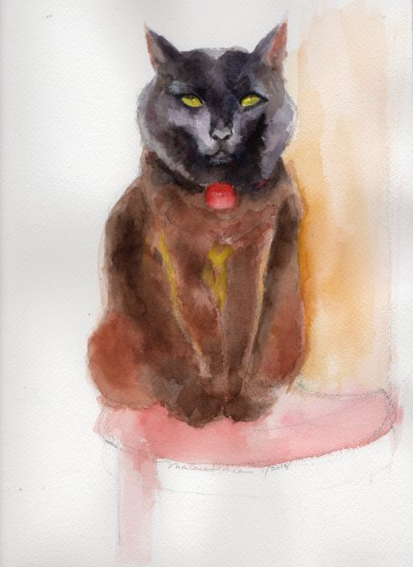 Sammi the Cat, watercolor portrait