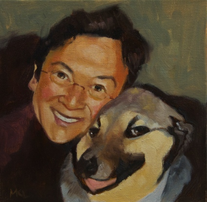 An owner and his dog, oil, 10 x 10 inches by Marlene Lee