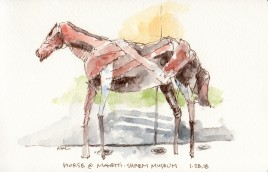 Horse Sculpture at the Manetti Shrem Museum sketch by Marlene Lee