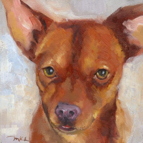 Tough Guy, dog oil portrait by Marlene Lee