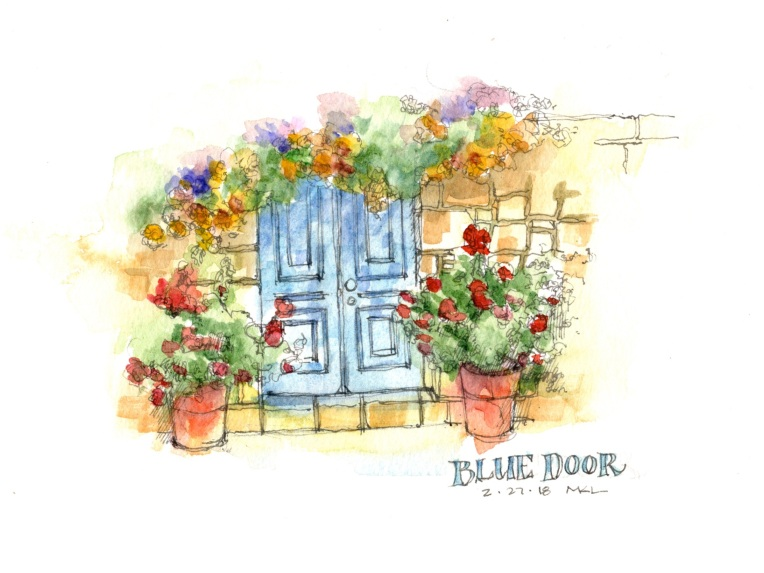 022718_Blue Door with Flowers