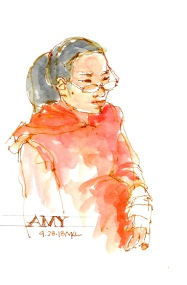 Amy, 8 x 5 inches in Moleskine watercolor sketchbook, watercolor and ink by Marlene Lee