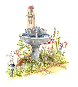Garden Fountain, watercolor and pen, 9 x 12 inches, 6 May 2018