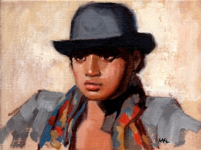 Derby Hat Girl, 6 x 8 inches oil on canvas panel