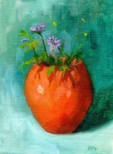 Orange Vase with Purple Flowers