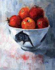 China Bowl with Fresh Tomatoes 8 x 10 inches oil on canvas panel