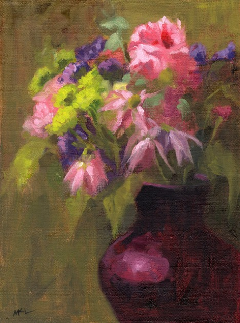 A Bouquet of Flowers, 10 x 8 inches oil on canvas panel