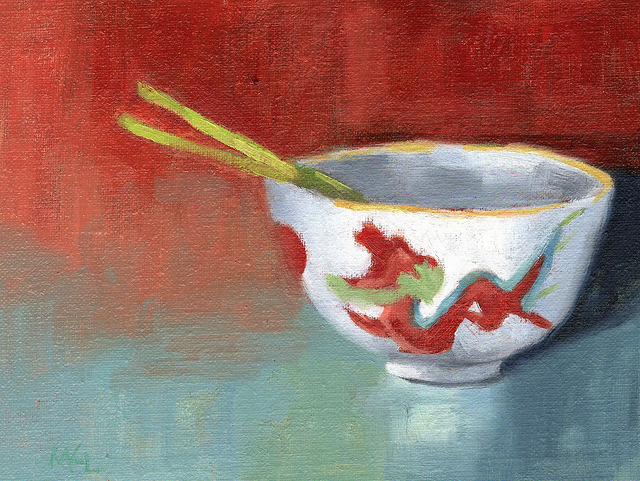 China Bowl with Green Onions, 6 x 8 inches oil on canvas panel