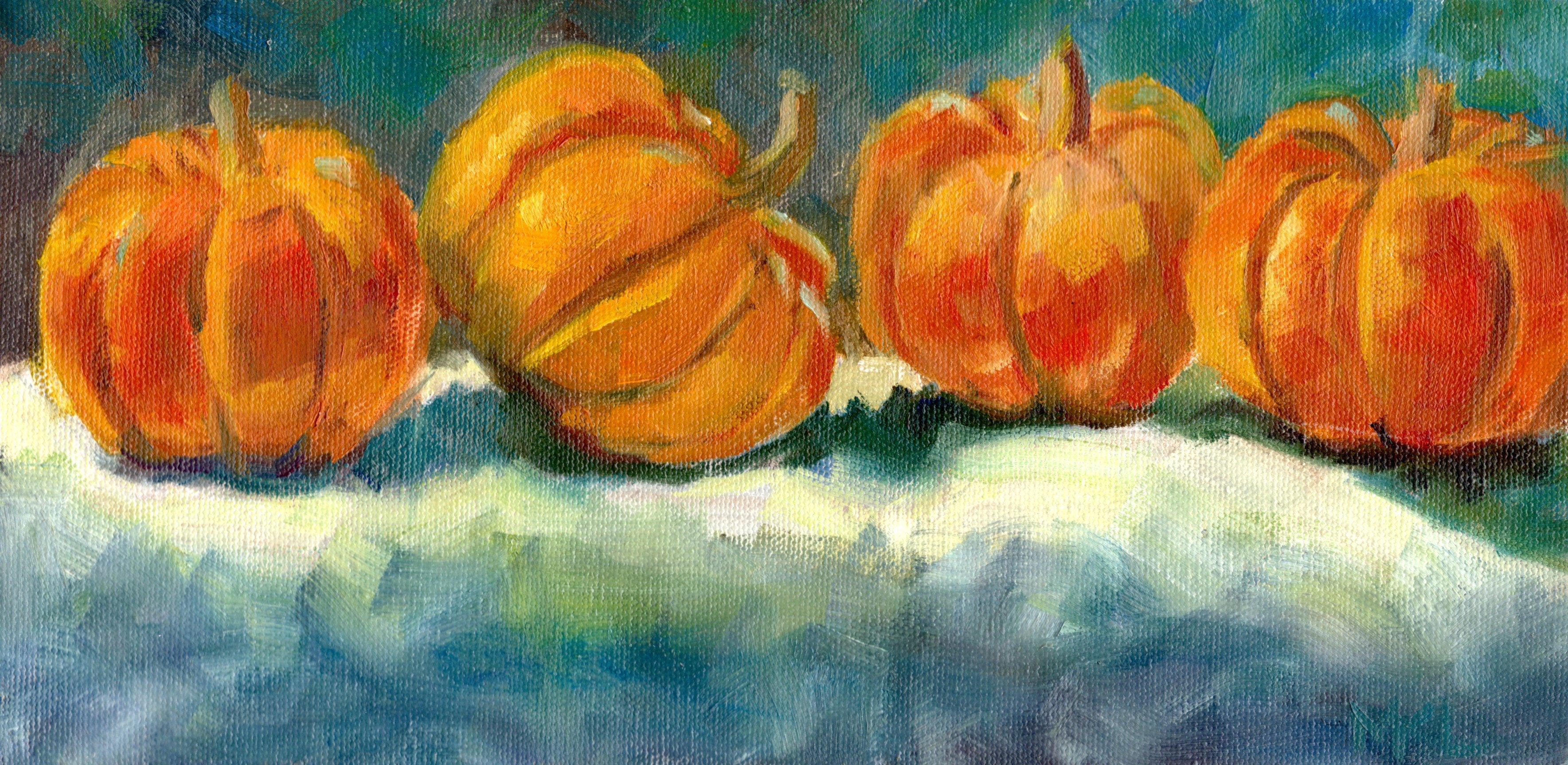 Four Pumpkins in a Row