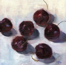 Cherries, 6 x 6 inches, oil on canvas panel