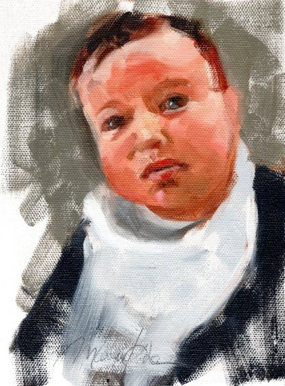 Baby Boy, 7 x 5 inches oil on canvas paper