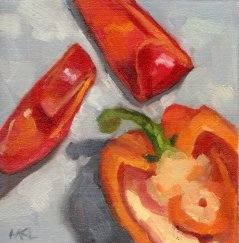Cut Up Red Pepper, 6 x 6 inches oil on canvas panel