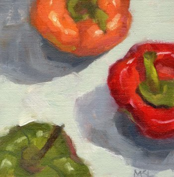Red, Orange and Green Bell Peppers, 6 x 6 inches oil on canvas panel