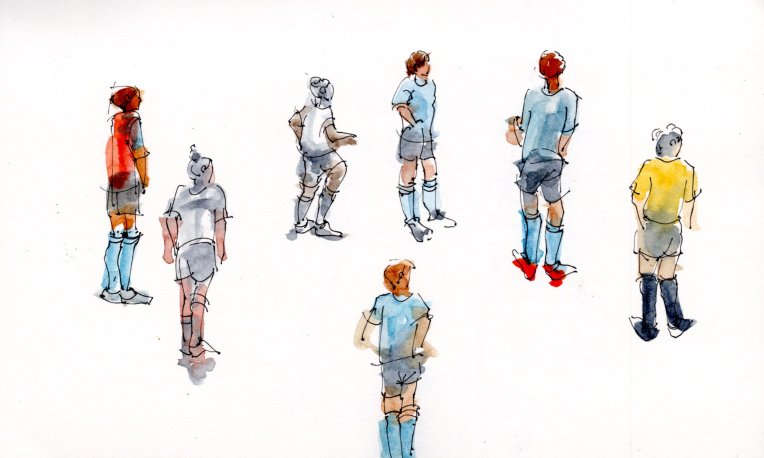 Soccer players sketches in watercolor n pen