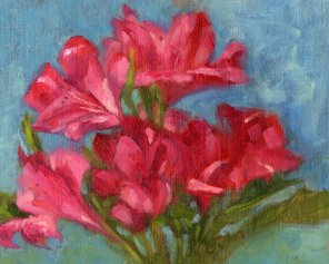 Azaleas, 8 x 10 inches oil on canvas panel