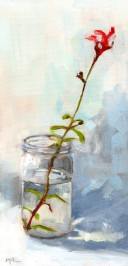 Red Autumn Sage in a Jar 12 x 6 x 3/4 inches oil on stretched canvas
