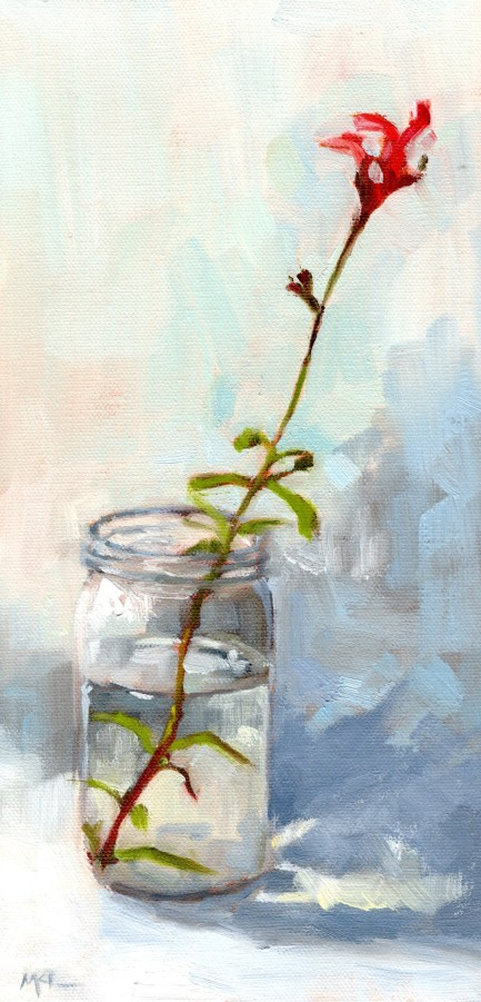 Red Autumn Sage in a Jar