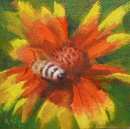Honey Bee, 3 x 3 x 7/8 inches, oil on stretched canvas