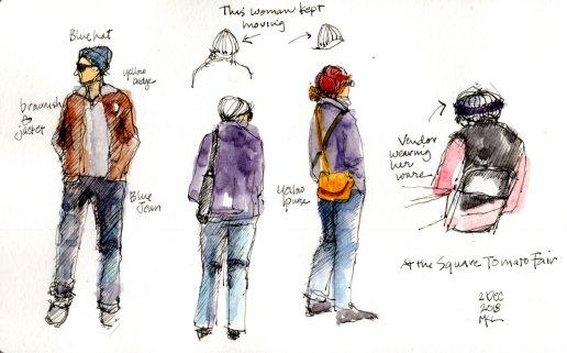 People sketching at Square Tomato 1