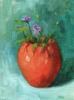 10 orange vase with purple flowers