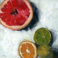 15 grapefruit, limes and lemon halves