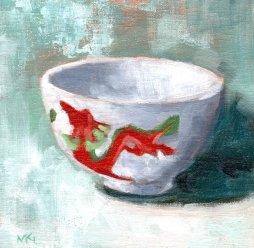 4 china bowl on turquoise background