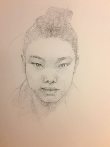 Young Girl, 17 x 14 inches, photo reference from Pinterest, graphite