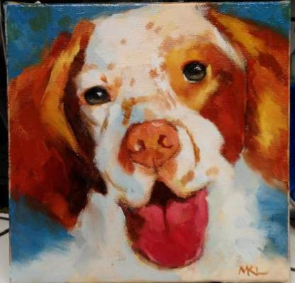 Freckles, 6 x 6 x 3/4 inch oil by Marlene Lee