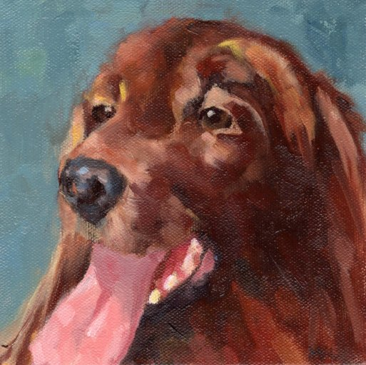 Murphy, 6 x 6 x 3/4 inch oil by Marlene Lee