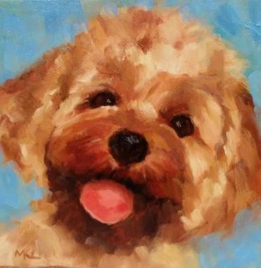 Roy, 6 x 6 x 3/4 inch oil by Marlene Lee