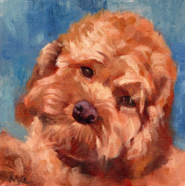 Walt, 6 x 6 x 3/4 inch oil by Marlene Lee