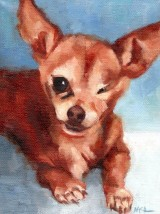 """Charly"" oil on stretched canvas, 6 x 8 x 3/4 inches by Marlene Lee"