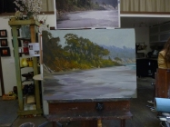 Almost finished painting. Craig would work on it a bit and then helped students. Then he'll return to add a bit more.