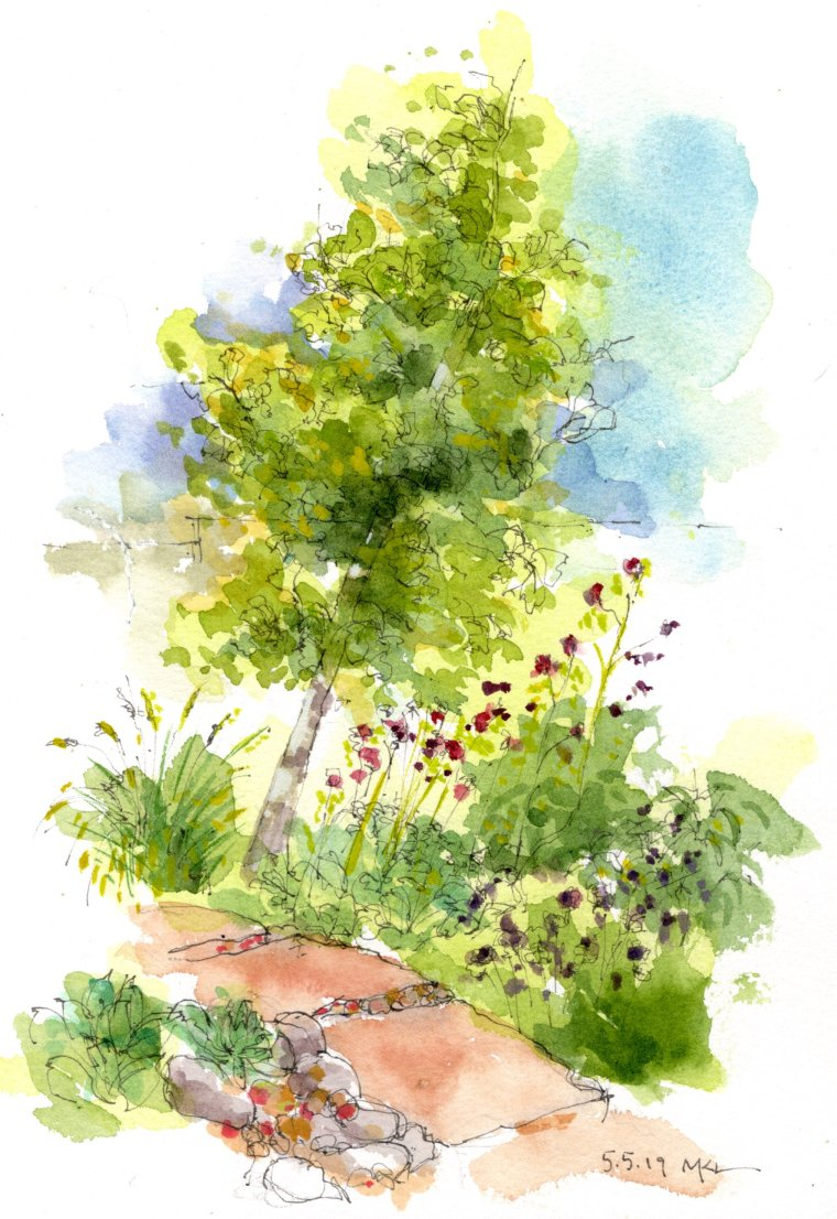 Gingko Tree, watercolor by Marlene Lee