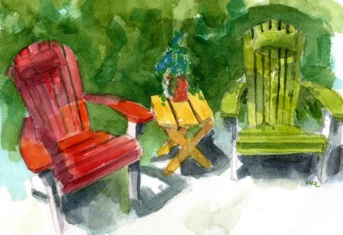 Stop Lights Chairs, watercolor by Marlene Lee