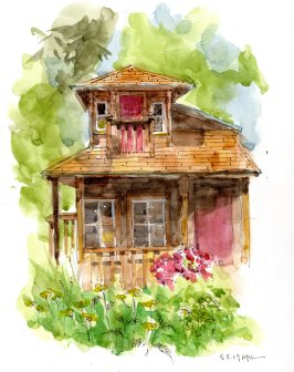 The Playhouse, watercolor by Marlene Lee