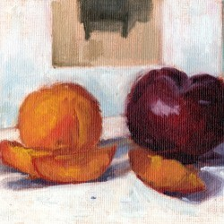Apricots and Plum, 6 x 8 in. oil on canvas panel