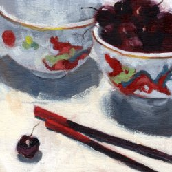 China Bowls with Cherries, 6 x 6 in. oil on canvas panel