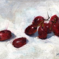Grapes, 5 x 7 in. oil on canvas panel