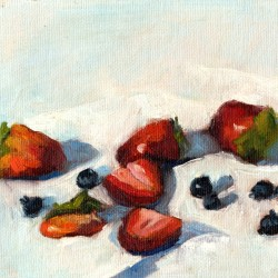 Strawberries and Blueberries, 6 x 8 in. oil on canvas panel