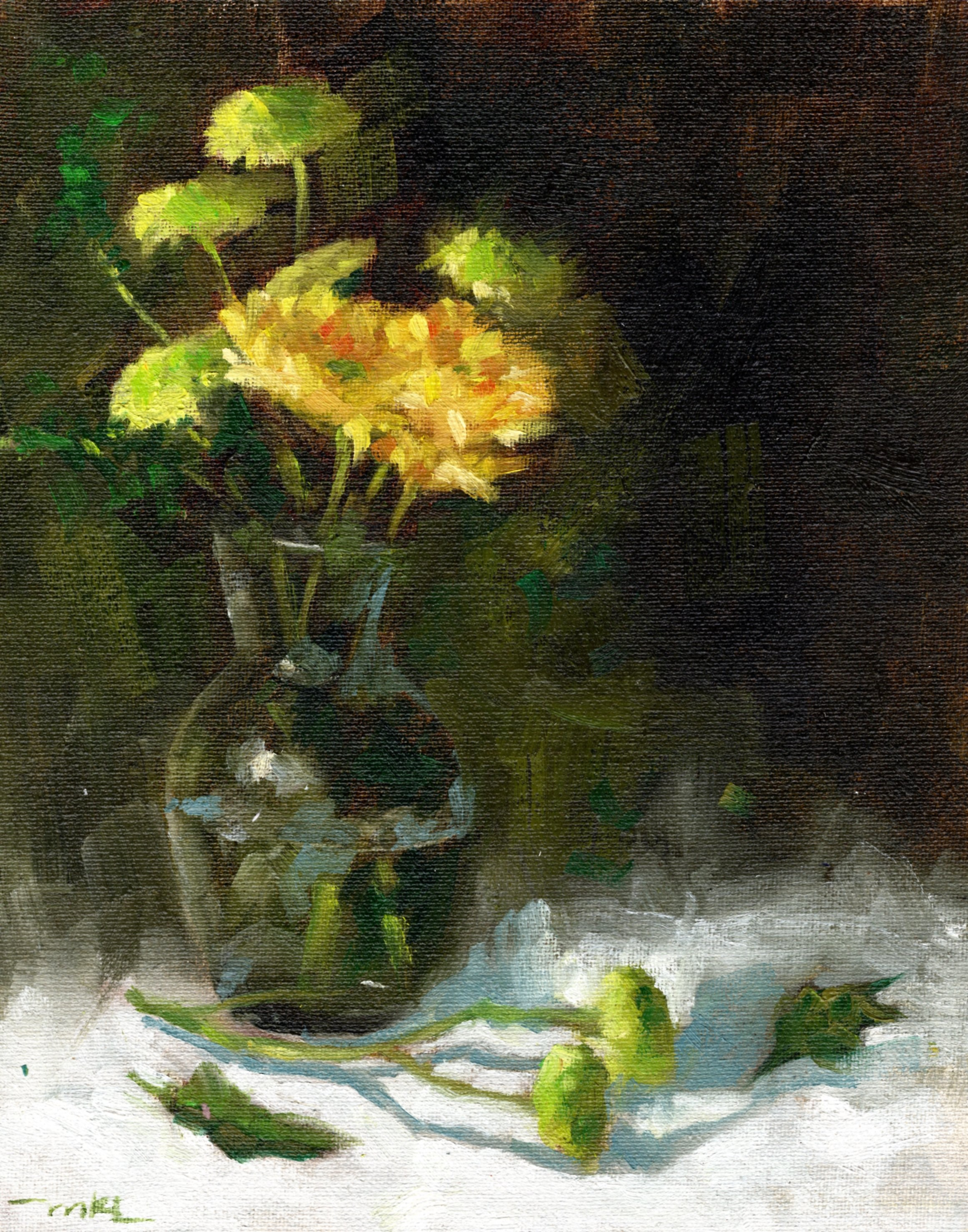 Yellow Flowers in a Glass Vase 2016 10x8
