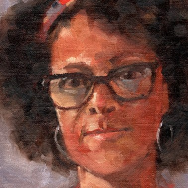 Bernardine Evaristo, PAOTW 2020, 8x6 inches, oil on canvas panel
